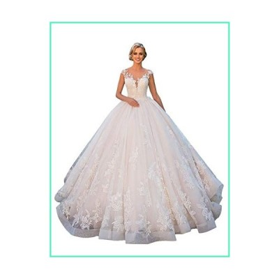 Clothfun Women's Cap Sleeve Lace Beach Wedding Dresses for Bride 2020 A-line Bridal Ball Gowns Style6 White 24 Plus Size並行輸入品