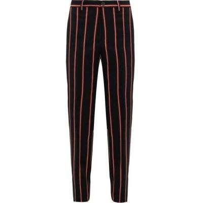 コブラ S.C. Cobra S.C. メンズ ボトムス・パンツ Pinstriped wool wide-leg trousers Black