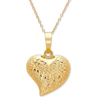 """イタリアン ゴールド Italian Gold ユニセックス ネックレス ハート Textured Puff 17"""" Heart Pendant Necklace in 10k Gold Yellow Gold"""
