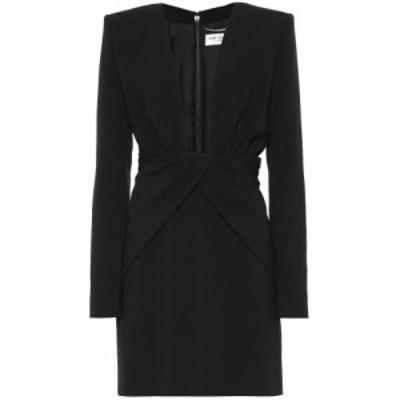 イヴ サンローラン Saint Laurent レディース パーティードレス ワンピース・ドレス Crepe minidress Noir
