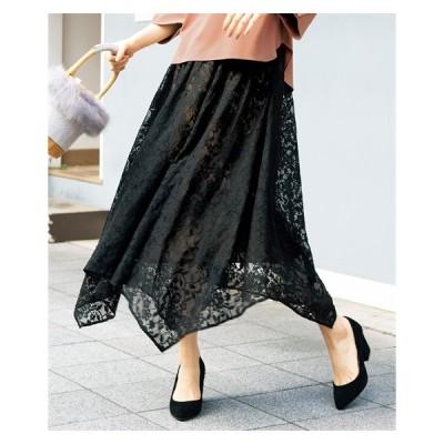 スカート ひざ丈 大きいサイズ レディース イレヘム レース L/LL/3L ニッセン nissen