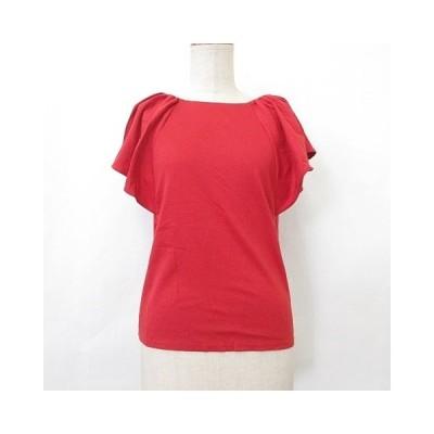 【中古】エストネーション ESTNATION カットソー ブラウス Tシャツ 半袖 ボートネック ストレッチ 綿 赤 レッド 38 レディース 【ベクトル 古着】