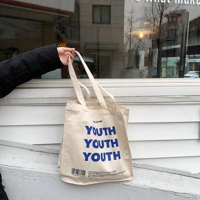 ええ/ [元のモデルのみ停止] YOUTHアルファベットプリントキャンバスショルダーバッグ日本と韓国のイントートバッグ