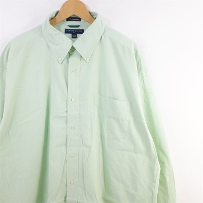 古着 大きいサイズ トミーヒルフィガー 長袖ボタンダウンシャツ メンズ US-2XL チェック柄 ライトグリーン系 hs-9688