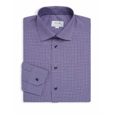 イートン メンズ ドレスシャツ ワイシャツ Gingham Slim-Fit Cotton Dress Shirt