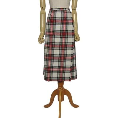 タータンチェック柄 キルトスカート 古着 巻きスカート ラップスカート レディース 約64cm