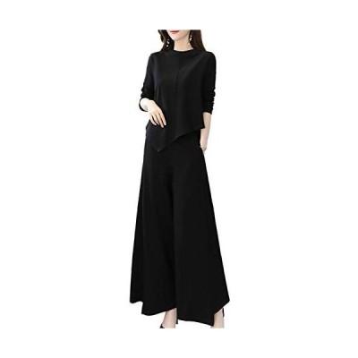 [モノア] セットアップ レディース ファッション 長袖 カットソー 長ズボン アシンメトリー ワイドパンツ スーツ (ブラック 2XL)