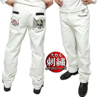 ジーンズ メンズ ホワイト 刺繍 スカル/ドクロ 大きいサイズ/ストレート