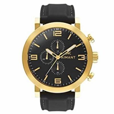 腕時計  AIMANT メンズ 腕時計  マウイ ゴールド ブラック シリコーン ベルト GMU-140SI1-1G