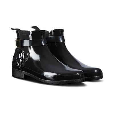 ハンター(HUNTER) レディース リファインド グロス キルテッド チェルシー ブラック WFS1032RGL BLK 長靴 ショートブーツ サイドゴアブーツ レインシューズ
