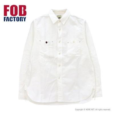 FOBファクトリー FOB FACTORY オックスワークシャツ F3462 メンズ 日本製 長袖 開撚 無地