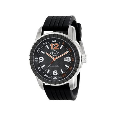 GV2 by Gevril Lucky 7 Mens Swiss Automatic Black Rubber Strap Watch, (Model: 9303)