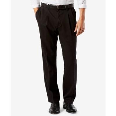 ドッカーズ メンズ カジュアルパンツ ボトムス Men's Easy Classic Pleated Fit Khaki Stretch Pants Black