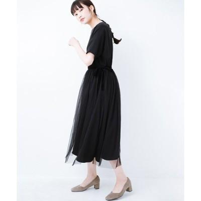 【ハコ】結婚式や二次会に便利!チュールと重ねて華やか見えが叶うフォーマルワンピースと重ねスカートセット
