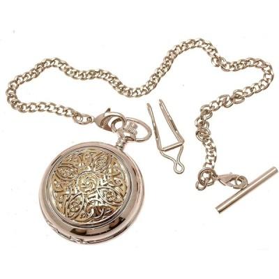 彫刻Included   Solid pewter fronted mechanical skeleton pocket watch   Two Tone Celtic Knot設計8 並行輸入品