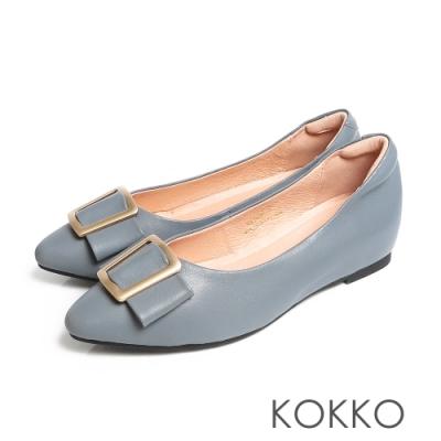 KOKK0經典尖頭優雅蝴蝶結柔軟羊皮內增高低跟鞋霾霧藍
