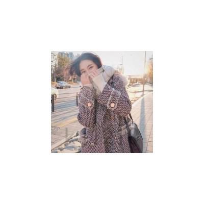 レディースチェスターコート千鳥柄コットンミディアムオーバーコートポケットアウター通勤通学秋冬新作人気コート