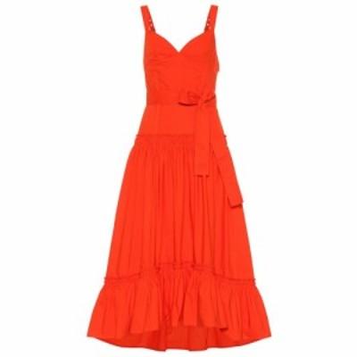 プロエンザ スクーラー Proenza Schouler レディース ワンピース ワンピース・ドレス Cotton-poplin midi dress Orange