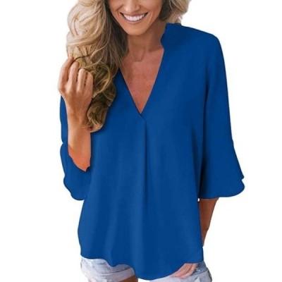 レディース 衣類 トップス Womens Casual Chiffon Blouse Ruffle Sleeve Shirts Solid Color Loose V- Neck T Shirt ブラウス&シャツ