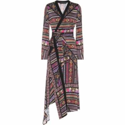 エトロ Etro レディース ワンピース ラップドレス ワンピース・ドレス Printed satin wrap dress Black