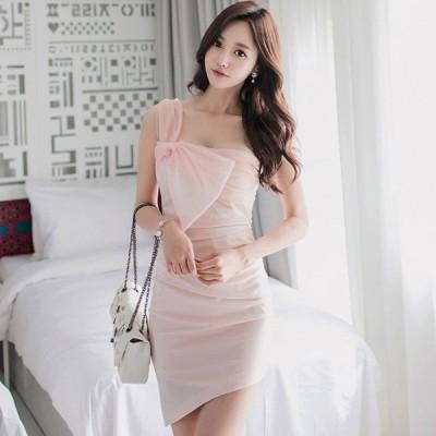 パーティードレス 安い 可愛い イブニングドレス お呼ばれ キャバ ナイトクラブ ワンショルダー ミニドレス キャミ セレブ リボン