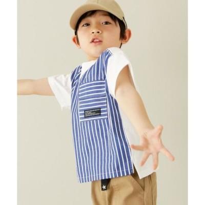 THE SHOP TK / ザ ショップ ティーケー 【兄弟姉妹おそろい柄100-150cm】チェック/ストライプ柄Tシャツ