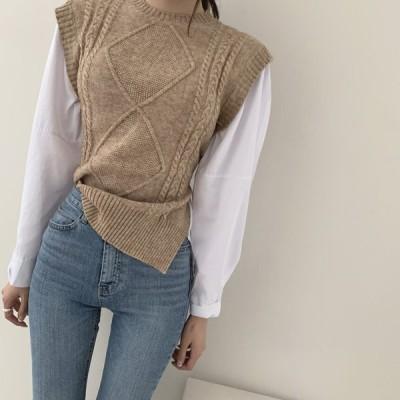 トップス シャツ ブラウス ニット ベスト 重ね着風 レイヤード ベルト きれいめ カジュアル 大人可愛い 韓国ファッション