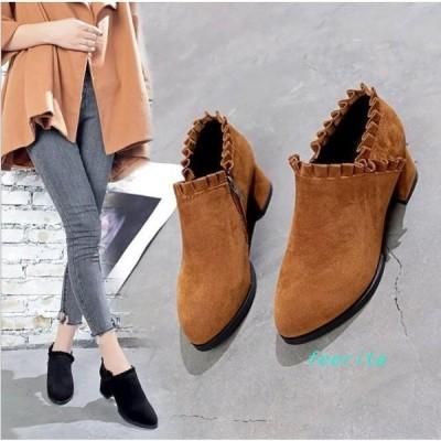 ブーツ大きいサイズレディースカジュアルショート低反発中敷靴キャメル/黒