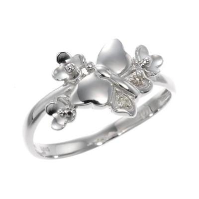 ダイヤモンドバタフライ&フラワーリング 指輪 4月誕生石