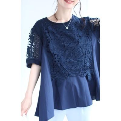 FRENCH PAVE / (紺)美しさ織りなすレース模様のフレア裾ブラウストップス WOMEN トップス > シャツ/ブラウス