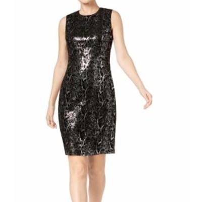 Calvin Klein カルバンクライン ファッション ドレス Calvin Klein NEW Black Womens Size 8 Sequin Velvet Sheath Dress