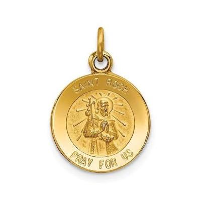 Solid 14k Yellow Gold Catholic Patron Saint Roch Medal Charm Pendant - 19mm x 12mm【並行輸入品】