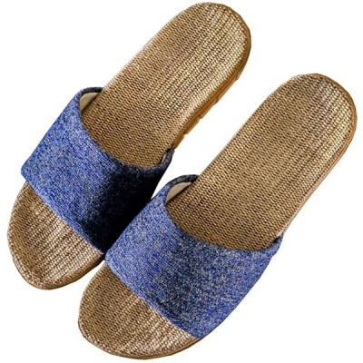 [SHPEROWW] レディース メンズ ルームシューズ 夏春 スリッパ 室内履き 静音で軽量 麻 可愛い 滑り止め 来客用 部屋用 ギフト ブルー