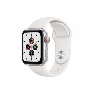 最新 Apple Watch SE(GPS + Cellularモデル)- 40mmシルバーアルミニウムケースとホワイトスポーツバンド