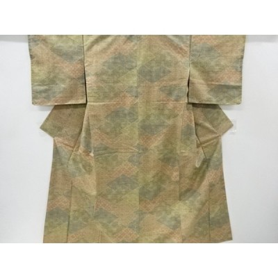 宗sou 切りばめ風花更紗模様織出手織り真綿紬着物【リサイクル】【着】