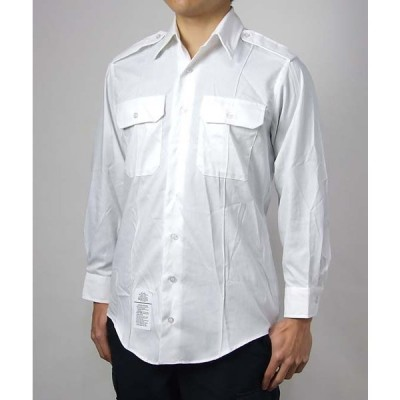 US.NAVY.ホワイト、長袖ドレスシャツ(新品)A61N