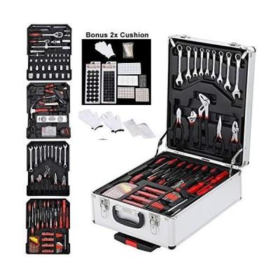 工具セット 1199 PCS Aluminum Trolley Case Tool Set, Tool Box With Mechanic Travel Hand Tool Kit Wrenches Socket Trolley Standard Metric