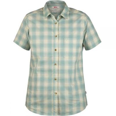 フェールラーベン Fjallraven レディース ブラウス・シャツ トップス Ovik Check Short-Sleeve Shirt Ocean Mist