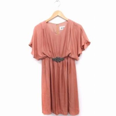 【中古】ロペ ROPE ワンピース ドレス ビジュー装飾 Vネック フレンチスリーブ ひざ丈 36 ピンク /FT37 レディース