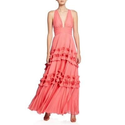 ホルストンヘリテイジ レディース ワンピース トップス V-Neck Sleeveless Pleated Gown with Smocked Ruffle Trim
