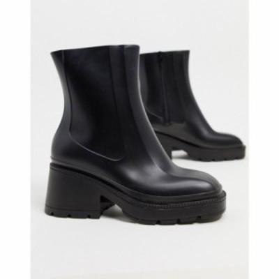 エイソス ASOS DESIGN レディース ブーツ シューズ・靴 Grounded heeled rain boots in black ブラック
