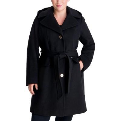 マイケル コース Michael Kors レディース コート 大きいサイズ ラップコート フード アウター Plus Size Belted Hooded Wrap Coat Black