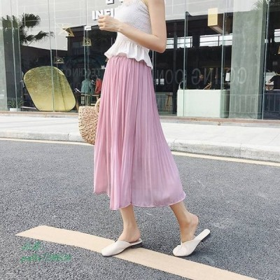 ペールトーン フレアスカート ミモレ丈 ママファッション レディースファッション スカート カジュアル シンプル おしゃれ かわいい