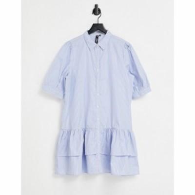 インフルエンス Influence レディース ワンピース ミニ丈 シャツワンピース ワンピース・ドレス Mini Shirt Dress In Blue And White Str