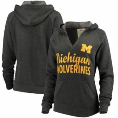 Pressbox プレス ボックス スポーツ用品  Pressbox Michigan Wolverines Womens Charcoal Laurie V-Neck Hoodie