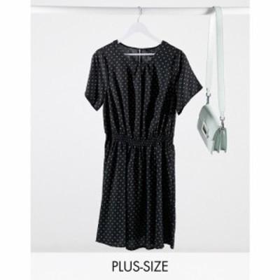 ニュールック New Look Plus レディース ワンピース ミニ丈 ワンピース・ドレス New Look Curve mini dress in polka dot ブラック