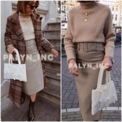 ファッション スカート NWT ZARA AW18 HOUNDSTOOTH PENCIL SKIRT WITH BELT AND BUCKLE 9479/262_XS S M L