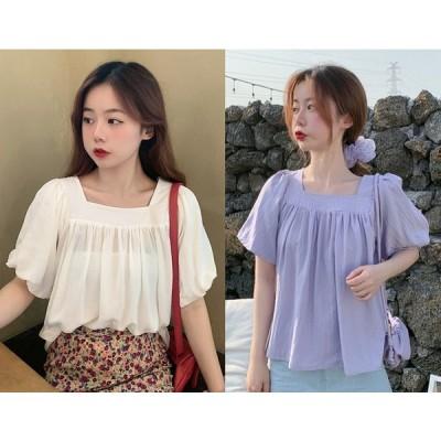 全2色 シャツ ブラウス フリル 切り替え 体型カバー 着痩せ ボリューム袖 シンプル sweet系