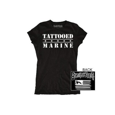 Tシャツ レディース ステッドファストブランド Women's Steadfast Tattooed Marine T-Shirt Black