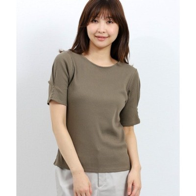tシャツ Tシャツ エムエフエディトリアルレディース/m.f.editorial:Womenストレッチ細テレコ袖釦半袖プルオーバーTシャツ